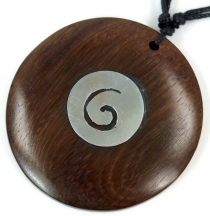 Ethno wood jewelry, surfer necklace with metal inlay - spiral