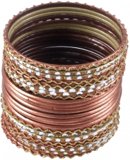 Indian Bangle`s bracelets 24 pcs - copper colored