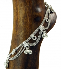 Indian anklet, oriental white metal anklet - Model 9