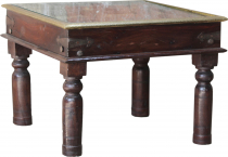 Colonial style coffee table, coffee table with glass top