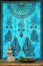 Indian wall cloth, batik bedspread - Chakra dreamcatcher/turquois..