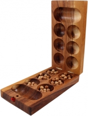 Board game, wooden parlour game - Kalaha with glass marbles