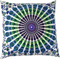 Cushion cover mandala, printed folklore cushion - turquoise