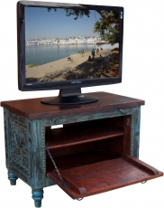 Small Plasma TV Box colonial style TV table - blue
