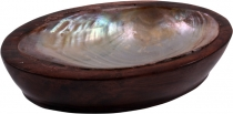 Coconut wood soap dish with mother-of-pearl
