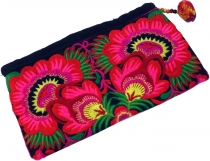 Cosmetic bag with folklore embroidery - pink/black