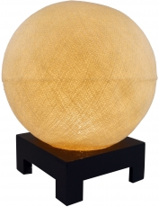 Ball table lamp with MDF stand made of cotton threads - creme