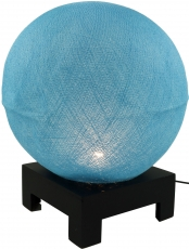 Ball table lamp with MDF cotton thread stand - light blue