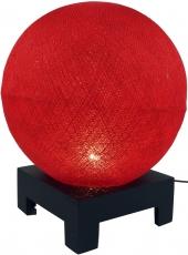 Ball table lamp with MDF cotton thread stand - red