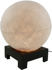 Ball table lamp with MDF cotton thread stand - silver grey