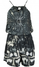 Short airy batik overall in hippiestyle - black