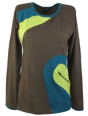 Long sleeve shirt Hippie chic, Goa shirt with bag - brown