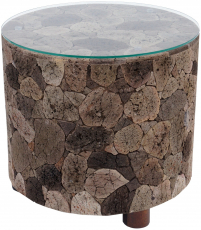 Lava stone coffee table with glass top - model 10
