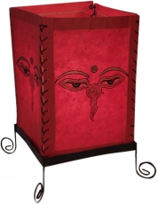 Lokta paper table lamp, square table lamp - Buddha`s eye red