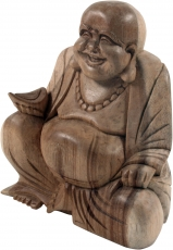 Lucky Holzbuddha Statue hell, 16 cm - Modell 4