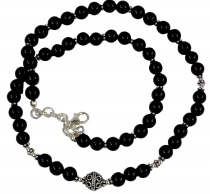 Mala bracelet and necklace with real silver beads - Onyx