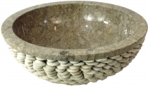 Marble top washbasin, grey wash bowl with river stone