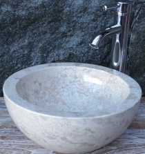 Solid round marble top-mounted washbasin, wash bowl, natural ston..
