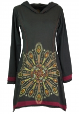 Minidress, Ethno hooded dress Mandala - coffee