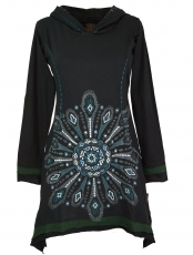 Minidress, Ethno hooded dress Mandala - black