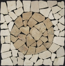 Mosaic tile with marble circle (Mo-07) - Design 19