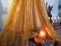 Mosquito net, canopy bed 1001 nights - golden yellow