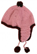 cap with earflaps - pink