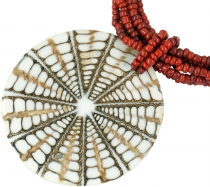 Exotic Boho necklace, shell + pearls necklace - Model 1
