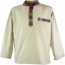 Nepal ethno fisherman shirt, Goa shirt - cream