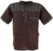 Nepal fisherman shirt, striped Goa Hippie short sleeve shirt - co..