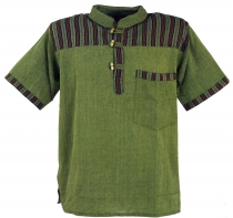 Nepal fisherman shirt, striped Goa Hippie short sleeve shirt - ol..