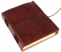 Notebook, leather book, diary cover `Elephant
