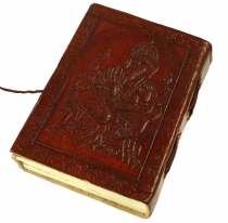 Notebook, leather book, diarycover `Ganesh` 9*12 cm