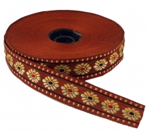 Orient border, woven ribbon from India 2 cm wide 1 m - brown