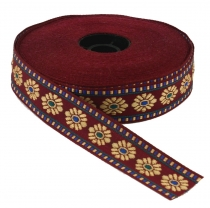 Orient border, woven ribbon from India 2 cm wide 1 m - wine