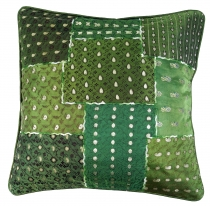 Oriental cushion cover, pillowcase Saree Patchwork - green
