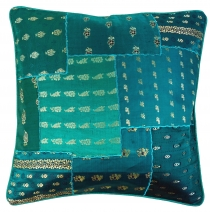 Oriental cushion cover, pillowcase Saree patchwork turquoise