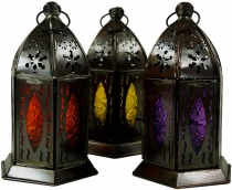Oriental metal/glass lantern in Moroccan design, lantern in 5 col..