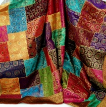 Oriental patchwork brocade rug, Indian bedspread - Patchwork