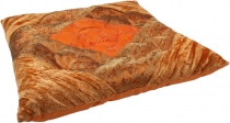 Oriental brocade quilted cushion, chair cushion 40*40 cm - orange