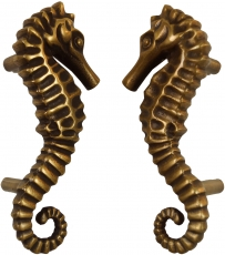 Pair of solid door handles brass seahorses