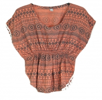 poncho, girls blouse, tunic - salmon