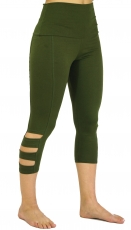 3/4 Psytrance Goa Ladies Leggings, Festival Party Pants - olive