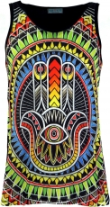 Psytrance Tank Top, Men Top - Fatimas Hand/black