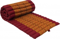 Thai rollable mat with kapok filling red-gold