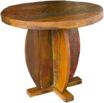 Round coffee table, coffee table made of recycled teak - Model 2