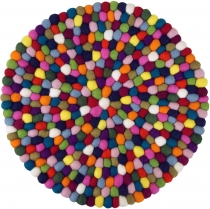 Round felt carpet, floor mat made of small felt balls - Ø 40 cm