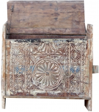 Rustic Orissa tribal wooden chest or bench with ornaments and car..