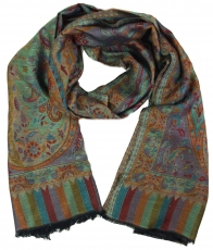Silky shiny Indian Pashmina scarf/stole - green
