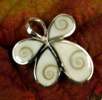 Boho silver pendant with shiva shell - butterfly